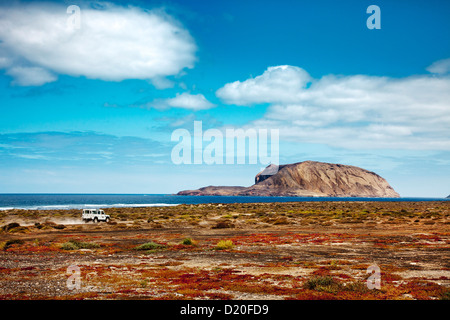View from island La Graciosa onto smaller island, Lanzarote, Canary Islands, Spain, Europe - Stock Photo