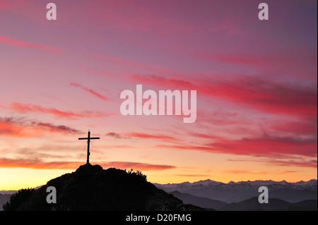 Summit of Risserkogel in front of morning sky, Risserkogel, Bavarian Foothills, Upper Bavaria, Bavaria, Germany - Stock Photo
