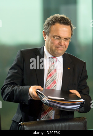 German Interior Minister Hans-Peter Friedrich arrives for the weekly cabinet meeting in Berlin, Germany, 09 January - Stock Photo