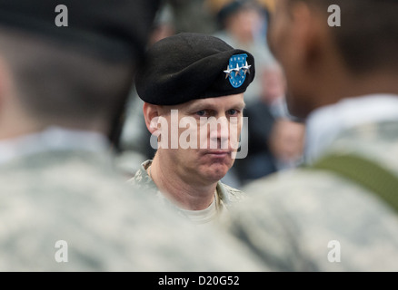 Lieutenant-general Donald M. Campbell Jr. assumes command at the US Army Airfield in Wiesbaden, Germany, 09 January - Stock Photo