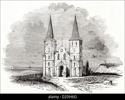 Ruins of the ancient church Reculver Kent England UK. Victorian woodcut engraving circa 1845. - Stock Photo