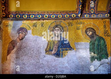 Byzantine ( Entreaty) mosaic , 1261, in which the Virgin Mary & John The Baptist, Hagia Sophia, Istanbul, Turkey - Stock Photo