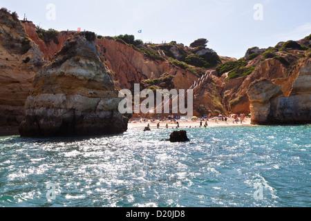 Rocks of the Algarve, Camilo Beach near Lagos, Atlantic Coast, Portugal, Europe - Stock Photo