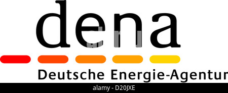 Logo of the German energy agency dena with seat in Berlin. - Stock Photo