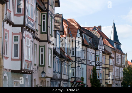 Timber framed houses, old town, Wernigerode, Harz, Saxony-Anhalt, Germany - Stock Photo