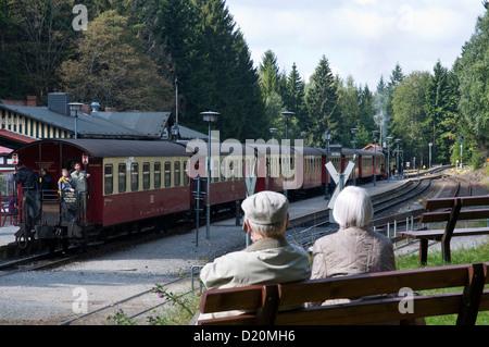 Steam railway, Brockenbahn, HSB Harz narrow-gauge railways, railway station Schierke, Harz, Saxony-Anhalt, Germany - Stock Photo