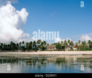 Beach of Blue Oyster Hotel during low tide, Jambiani village, Zanzibar, Tanzania, East Africa - Stock Photo