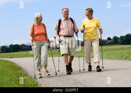 A group of pensioners hiking, Upper Bavaria, Bavaria, Germany, Europe - Stock Photo