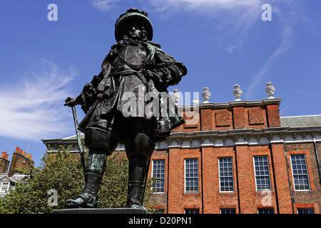Statue of William III of Orange in front of the Palace of Kensington, Hyde Park, London, England, Great Britain, - Stock Photo