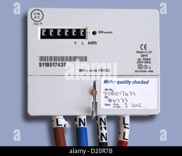 Domestic digital electricity meter in the UK. Pound symbols replace digits to represent the rising cost of energy. - Stock Photo