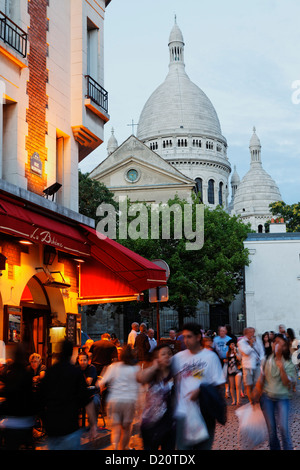 Place du Tertre and Sacre Coeur basilica in the evening, Montmartre, Paris, France, Europe - Stock Photo