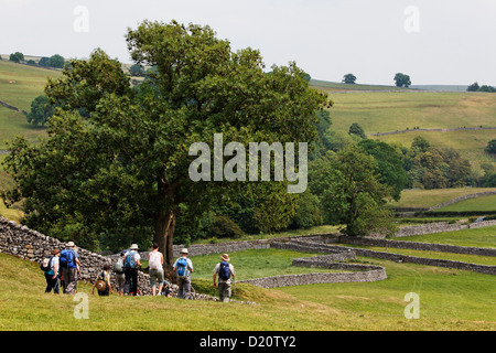 Hikers in Yorkshire Dales National Park, Yorkshire Dales, Yorkshire, England, Great Britain, Europe - Stock Photo