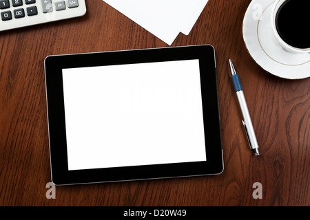 Close up of blank digital tablet on the desk - Stock Photo