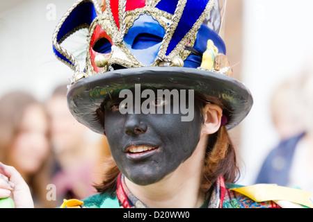 The Southwell Folk Festival 2012 black faced female morris dancer - Stock Photo
