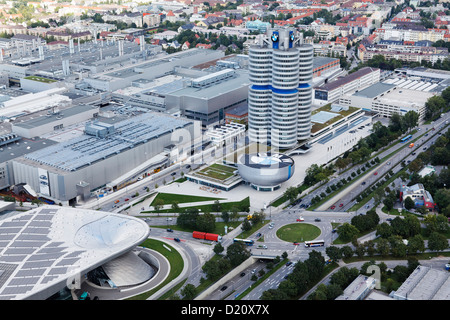 High angle view of the BMW AG headquarter's site, Munich, Upper Bavaria, Bavaria, Germany, Europe - Stock Photo