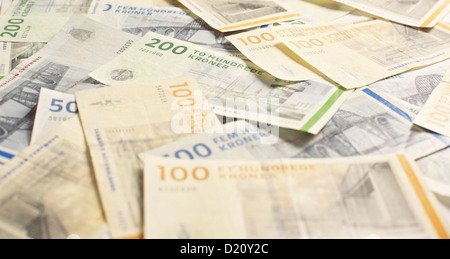 Danish currency in 100 and 200 denominations - Stock Photo