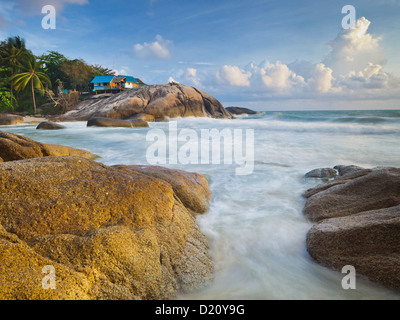 Bungalow on the Thong Reng Beach, Koh Phangan Island, Thailand - Stock Photo