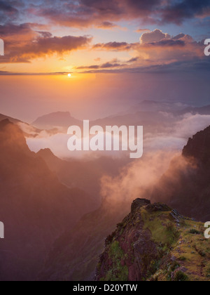 Sunrise at Miradouro Ninho da Manta, Pico do Arieiro, Madeira, Portugal - Stock Photo