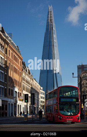 Shard building and London Red bus, Southwark, London - Stock Photo