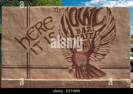 Sign at Owl Bar & Cafe in San Antonio near Socorro, New Mexico, USA - Stock Photo
