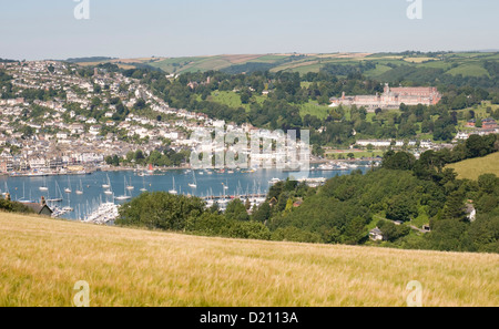 The Dart estuary separating Kingswear and, on the far bank, Dartmouth, Devon - Stock Photo