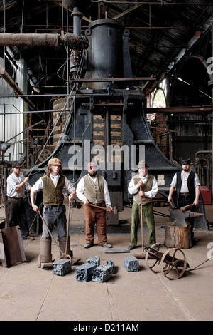 Actors in ironworks at The Iron Gorge Museums, Blists Hill Victorian Town, Ironbridge Gorge, Shropshire, England, - Stock Photo