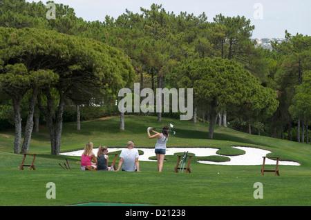 Family at driving range, golf, Quinta do Lago, Algarve, Portugal, Europe - Stock Photo