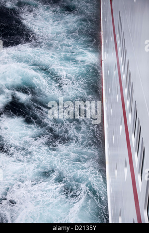 Cruise ship MS Deutschland, Reederei Peter Deilmann in stormy Drake Passage sea, near Cape Horn, Cape Horn National - Stock Photo