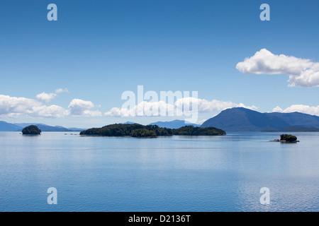 Islands in fjord passage, Chilean fjords, Magallanes y de la Antartica Chilena, Patagonia, Chile, South America - Stock Photo