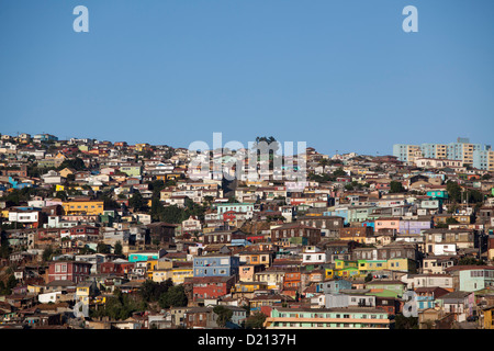 Colorful houses on hillside, Valparaiso, Chile, South America - Stock Photo