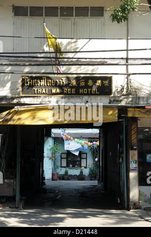 An old hotel , Thai Wa Ree Hotel in Bangkok , Thailand - Stock Photo