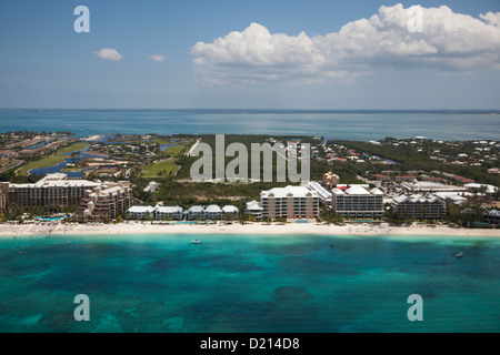 Aerial of hotels along beach, George Town, Grand Cayman, Cayman Islands, Caribbean - Stock Photo