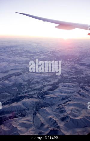 View from plane window over Alaska USA