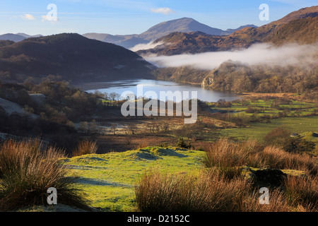 Snowdonia landscape scenic view along Nantgwynant to Llyn Gwynant lake with morning mist in mountains of Snowdonia - Stock Photo