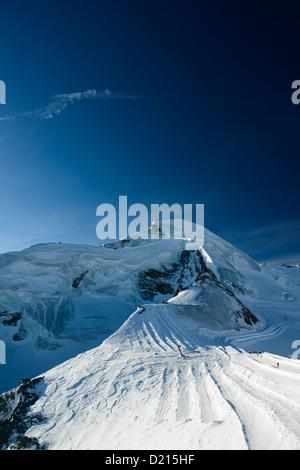 Allalinhorn mountain peak, view from Mittelallalin, Saas Fee, Valais, Switzerland - Stock Photo