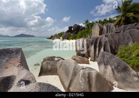 Granite rocks on the beach of Anse Source d'Argent, La Digue, Seychelles, Indian Ocean - Stock Photo