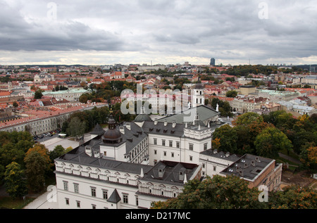 View of the Old Town of Vilnius from Gediminas Tower looking down on the Palace of the Grand Dukes - Stock Photo