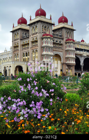 Mysore palace is now one of the most famous tourist attractions in India after Taj Mahal. - Stock Photo