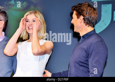 Actress Rosamund Pike and actor Tom Cruise attend the 'Jack Reacher' press conference at the Ritz Carlton Hotel - Stock Photo