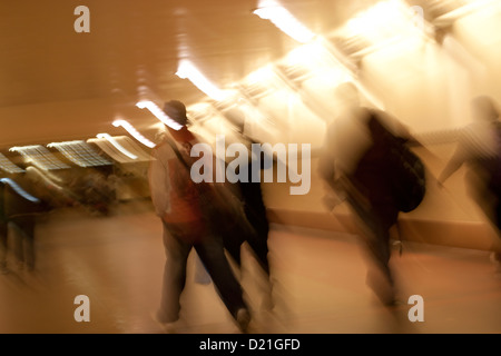 Mtion blue of passengers walking in a Metro Station in Los Angeles - Stock Photo