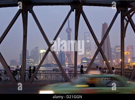 Waibaidu Bridge and skyline at night, Shanghai, China, Asia - Stock Photo