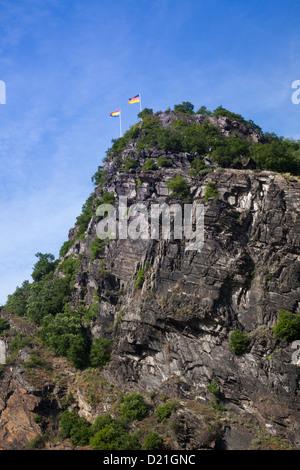 Low angle view of Loreley Rock, Sankt Goarshausen, Rhineland-Palatinate, Germany, Europe - Stock Photo