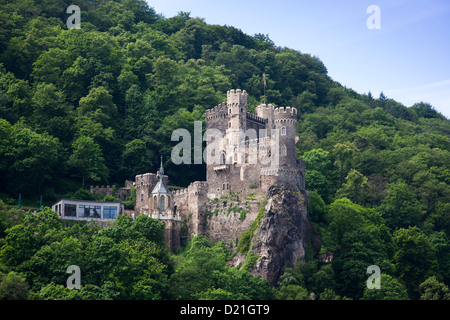Rheinstein castle above the Rhine river valley, Sankt Goarshausen, Rhineland-Palatinate, Germany - Stock Photo