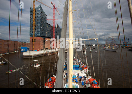 View from mast of sailing cruise ship Star Flyer on Elbe river as part of Hamburg harbour birthday celebrations - Stock Photo
