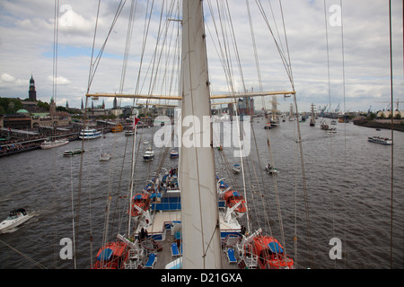 View from mast of sailing cruise ship Star Flyer on Elbe river as part of Hamburg harbour birthday celebrations, - Stock Photo
