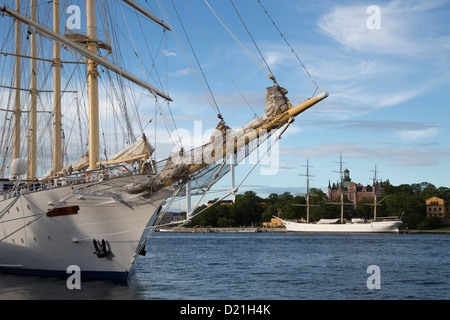 Sailing cruise ship Star Flyer with af Chapman sailing ship hostel in a distance, Stockholm, Stockholm, Sweden, - Stock Photo