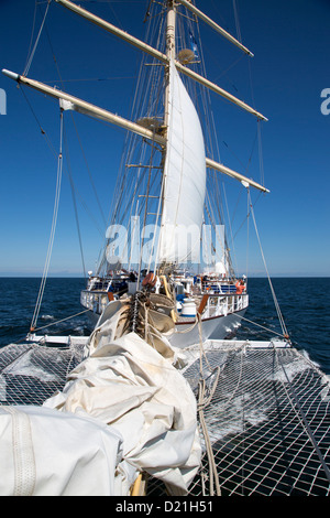 View from bowsprit of sailing cruise ship Star Flyer, Baltic Sea, Sweden, Europe - Stock Photo
