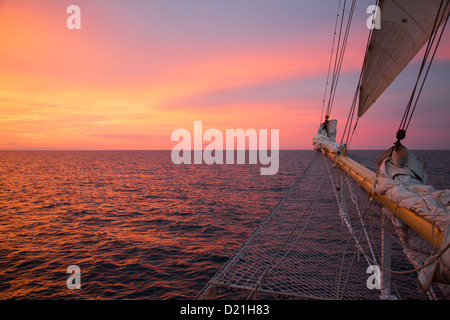 Bowsprit net of sailing cruise ship Star Flyer at sunset, Baltic Sea, Latvia, Baltic States, Europe - Stock Photo