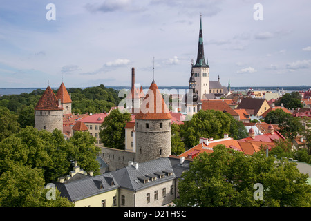 View of city with churches and towers seen from Toompea hill, Tallinn, Harjumaa, Estonia, Baltic States, Europe - Stock Photo