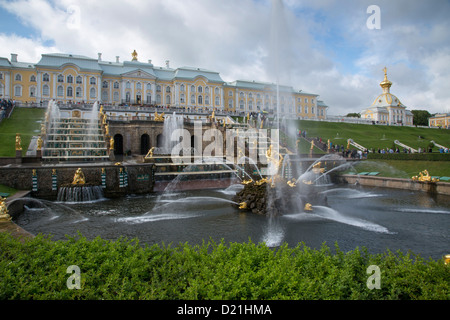 Grand Cascade fountains at Peterhof Palace (Petrodvorets), St. Petersburg, Russia, Europe - Stock Photo
